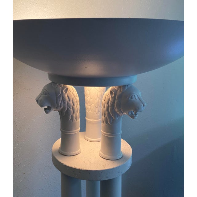 Neoclassical Triple Lion Head Torchiere Floor Lamps -A Pair For Sale In Portland, OR - Image 6 of 9
