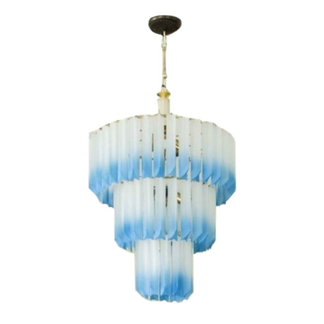 1960s Italian Frosted Lucite Prism Chandelier For Sale
