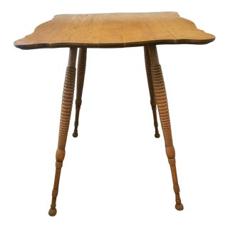 Antique Edwardian Oakwood Turned Spool Leg Table For Sale