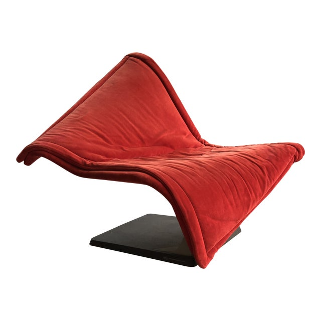 Flying Carpet Chair by Simon De Santa - Abstract Contemporary Modern Red Suede Velvet Chair For Sale