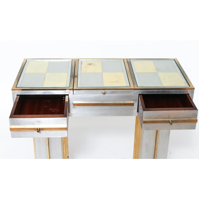 Modern Modern Steel Vanity Table and Stool In Style Of Maison Jansen - a Pair For Sale - Image 3 of 13