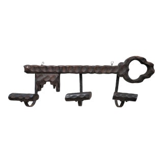 Antique French Oak and Wrought Iron Hat Rack For Sale