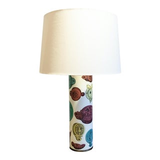 Tall Cylindrical Table Lamp With Polychromic Medallion For Sale