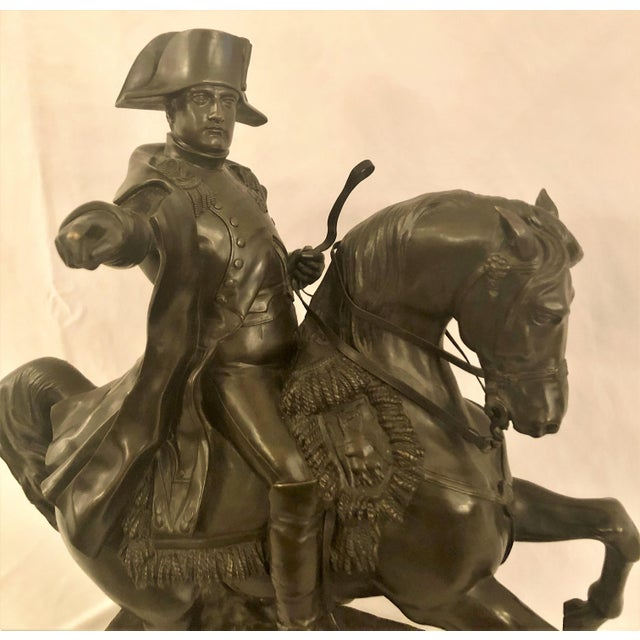 Antique 19th Century French Bronze Statue of Napoleon on Horseback Signed by Noted Sculptor, Alexandre Falguiere...