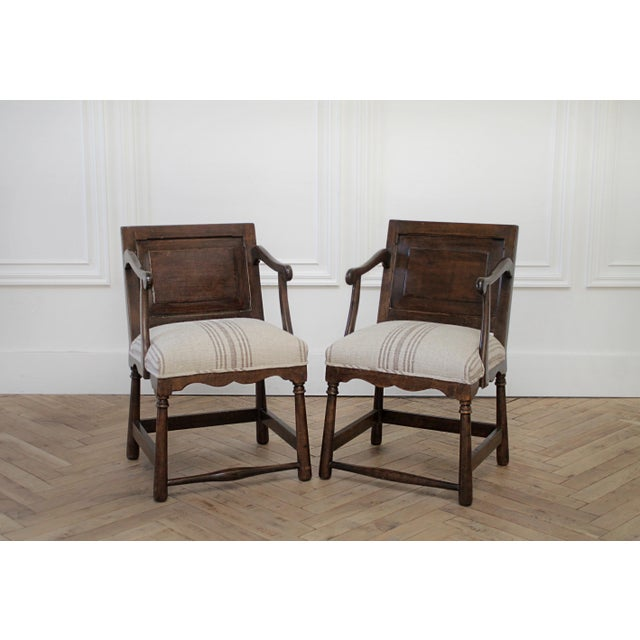 Pair of Fruitwood Carved and Upholstered Arm Chairs For Sale - Image 13 of 13