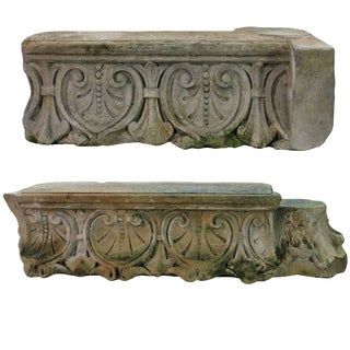 Large Early 18th Century Architectural Stone Fragments - a Pair