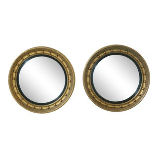 Gomme Furniture Gold Framed Bulls Eye Federal Mirrors - a Pair For Sale