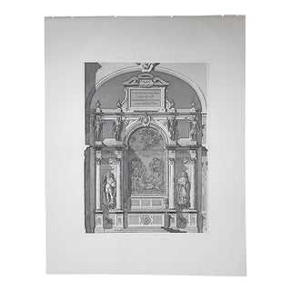 Very Large Antique Architectural Engraving-Palais de Fontainebleau-Architectural Details