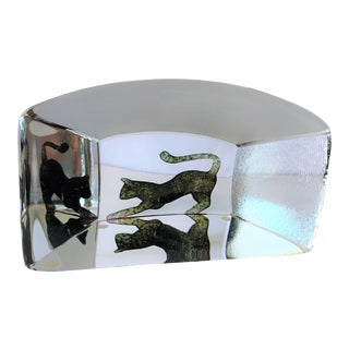 1980s Kosta Boda Three Dimensional Cat Themed Paperweight, Signed For Sale