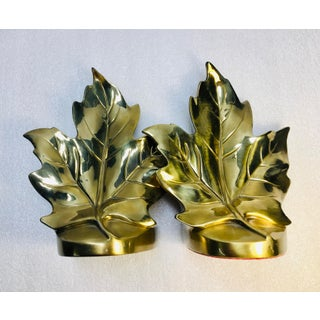 Traditional Mid Century Brass Maple Leaf Bookends - a Pair Preview