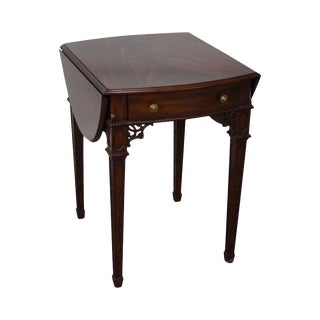 Maitland Smith Flame Mahogany Chippendale Style Pembroke Table For Sale