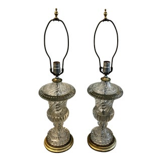Antique 1930s Baccarat Crystal Lamps - a Pair For Sale