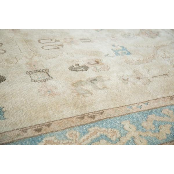"Blue Vintage Pale Blue Oushak Carpet - 5'4"" X 8' For Sale - Image 8 of 8"