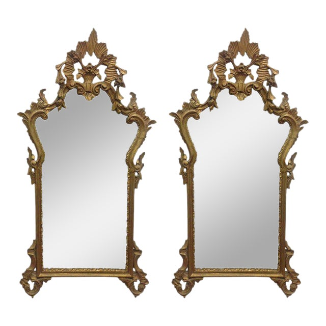 Pair of French Antique Hand-Carved Wooden Gilded Mirrors For Sale