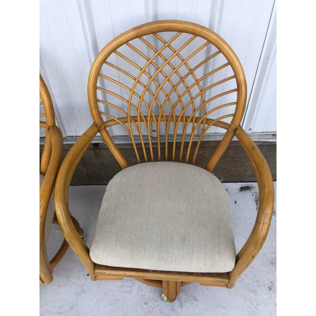 Vintage Glass Top Rattan Table and Wheeled Chairs Set - Set of 5 For Sale In New York - Image 6 of 13