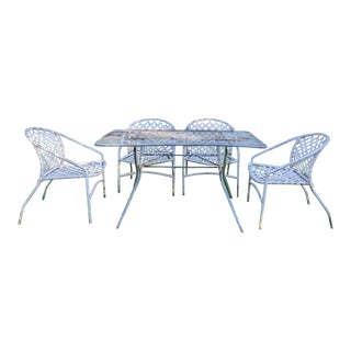 Brown Jordan Kantan Patio Chairs by Tadao Inouye + Folding Dining Table, Set of 5 For Sale