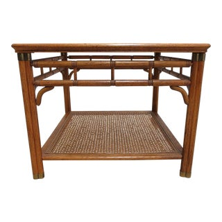 Mid-Century Faux Bamboo Campaign End Table For Sale