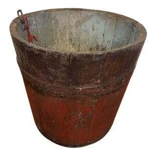 Antique Primitive Maple Sap Bucket in Early Faded Blue Paint For Sale