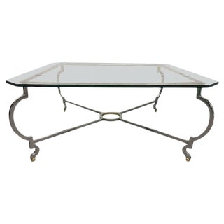 Steel and Brass Coffee Table in the Manner of Jansen