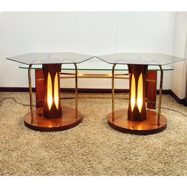 Mid-Century Wood and Glass Coffee & Lighted Side Table 3 Pc Set For Sale - Image 4 of 11