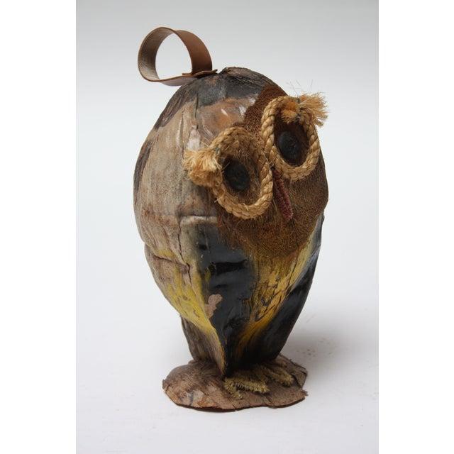 Whimsical Folk Art Coconut Owl Sculpture For Sale In New York - Image 6 of 13
