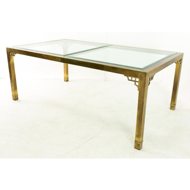 Mid-Century Modern Mastercraft Mid Century Solid Brass and Glass Expanding Dining Table For Sale - Image 3 of 13