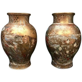 Meiji Period Japanese Satsuma Vases With Gilt - a Pair For Sale