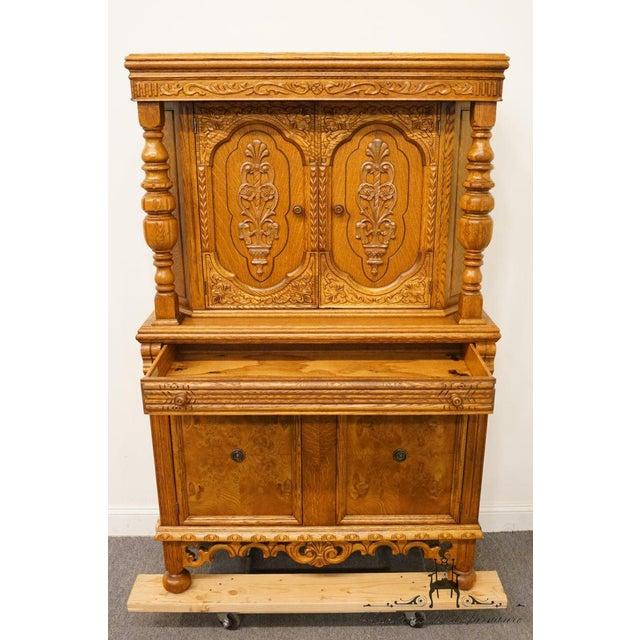Oak 1920's Antique Jacobean Gothic Revival Solid Oak Cupboard For Sale - Image 7 of 13