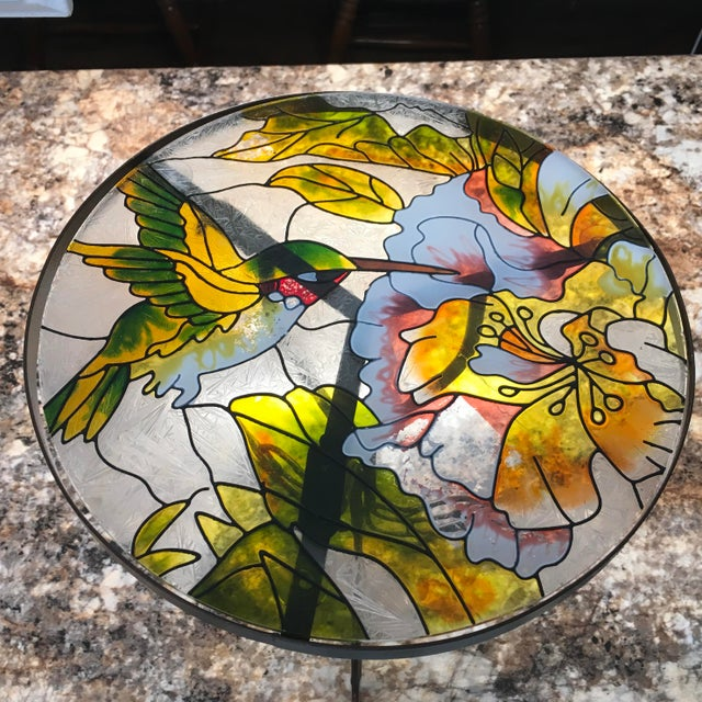 Mid 20th Century Hummingbird Stained Glass Accent Plant Stand Tables For Sale - Image 5 of 11