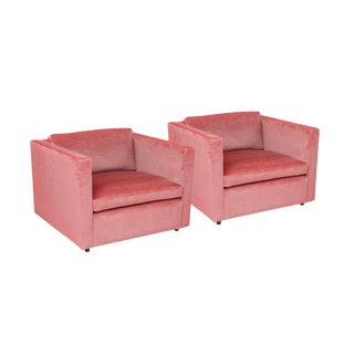 1970's Charles Pfister Knoll Pink Cotton Velvet Lounge Chairs - a Pair