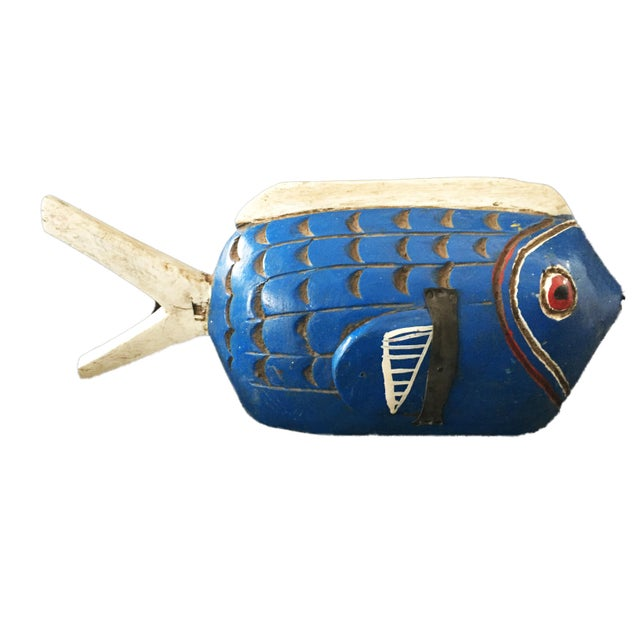"Tribal Bozo Mali Wood Fish 18"" W For Sale - Image 9 of 9"