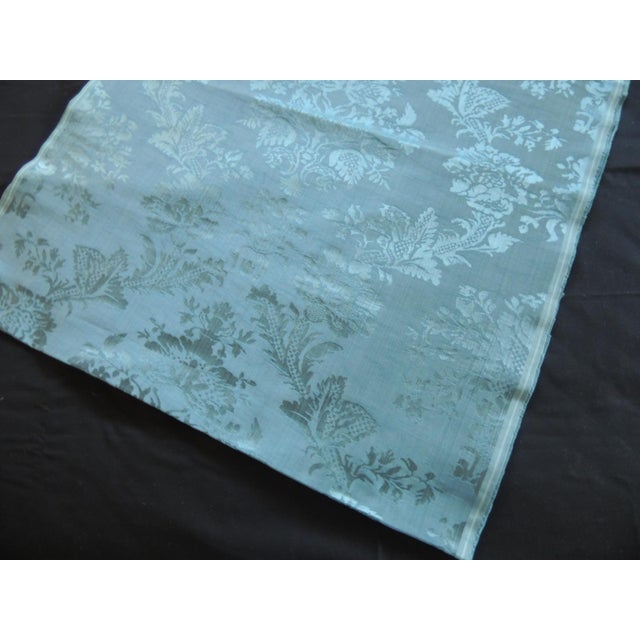 Hollywood Regency Antique Blue Floral Silk Damask Textile Panel For Sale - Image 3 of 6