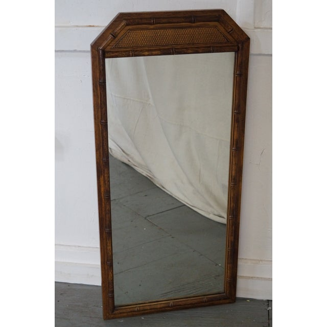 Vintage Walnut Faux Bamboo Frame Wall Mirror - Image 8 of 10