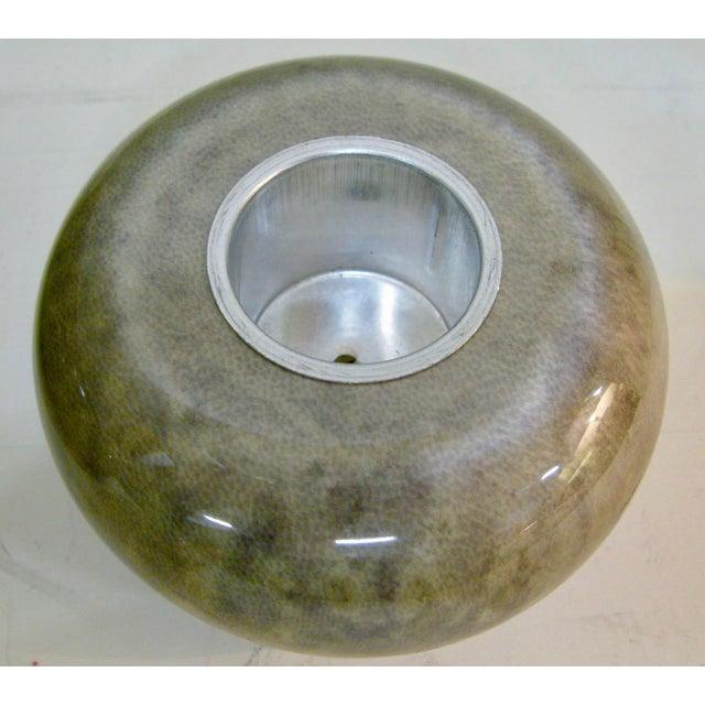 Rare Set of Aldo Tura Jade Green Goat Skin & Brass Bowl & Matching Lighter c.1950 For Sale - Image 12 of 13