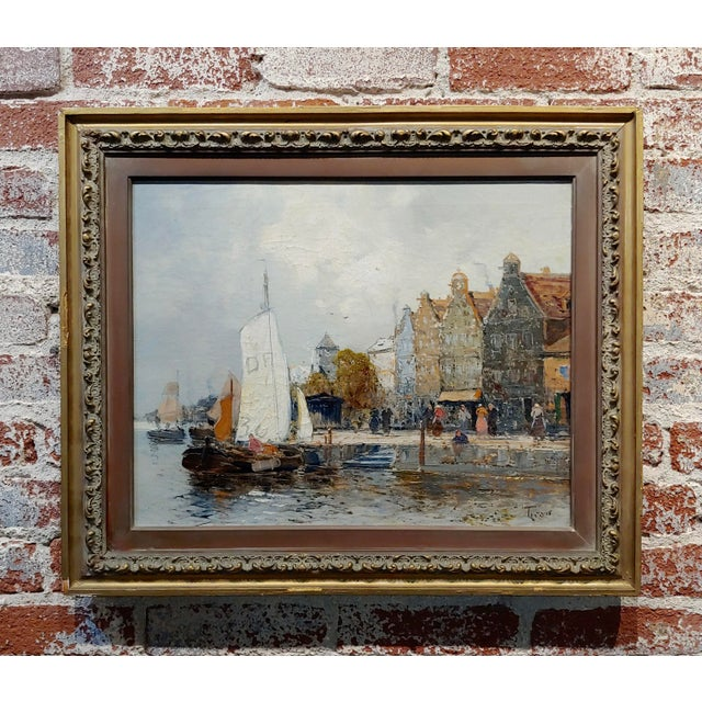 Old Amsterdam With Boats - 19th Century Dutch Impressionist Oil Painting For Sale - Image 11 of 11