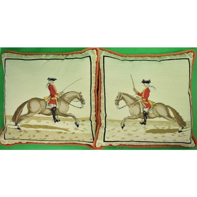 "Equestrian Petit-Point Pillows with Cord-Twist Piping. Dimensions: 19""H x 20""W"