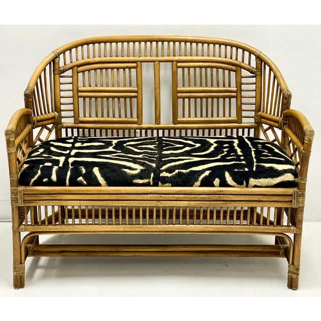 1960s Vintage Bamboo Chinese Chippendale Style Settee in Ralph Lauren For Sale - Image 5 of 5