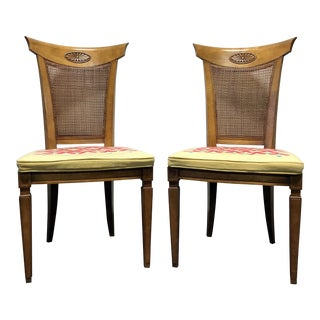 DREXEL HERITAGE Palazzo Italian Provincial Neoclassical Cane Dining Side Chairs - a Pair