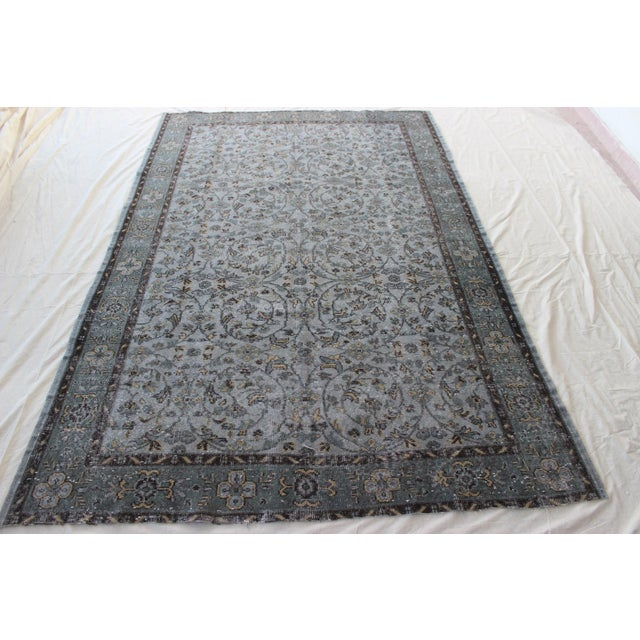 "Vintage Gray Turkish Over-Dyed Rug - 6' x 9'3"" - Image 2 of 10"