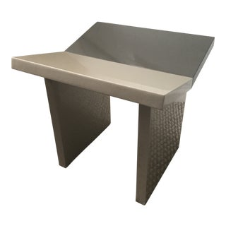 Contemporary Gray Lacquered Wooden Stool For Sale