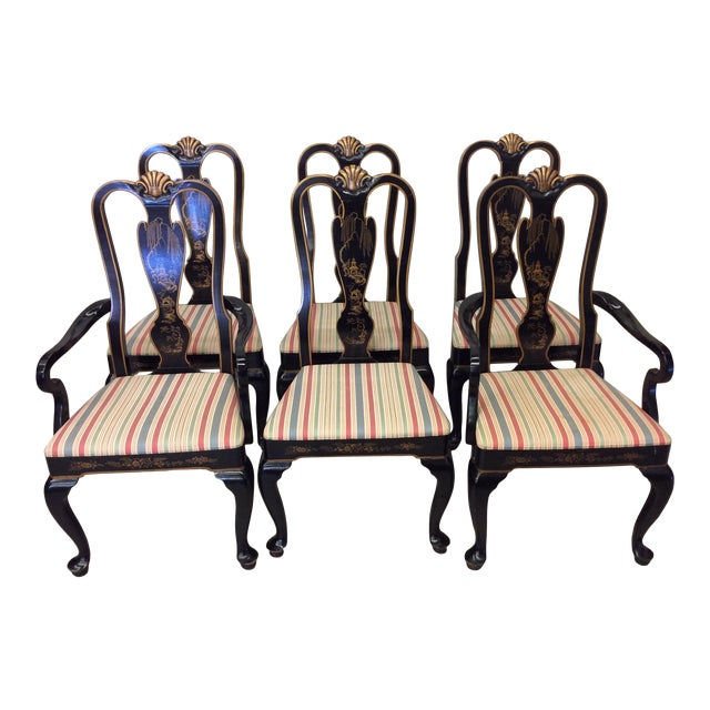 Drexel Heritage Black Lacquer Asian Style Dining Chairs - A set of 6 For Sale