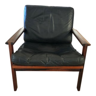 1960s Vintage Wikkeslo Danish Leather & Teak Armchair For Sale