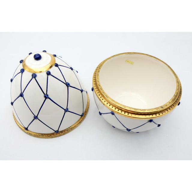 """Early 21st Century Sigma L2 Italian Ceramic Rete Blue and Gilt Bronze """"Egg Form"""" Covered Boxes For Sale - Image 5 of 10"""