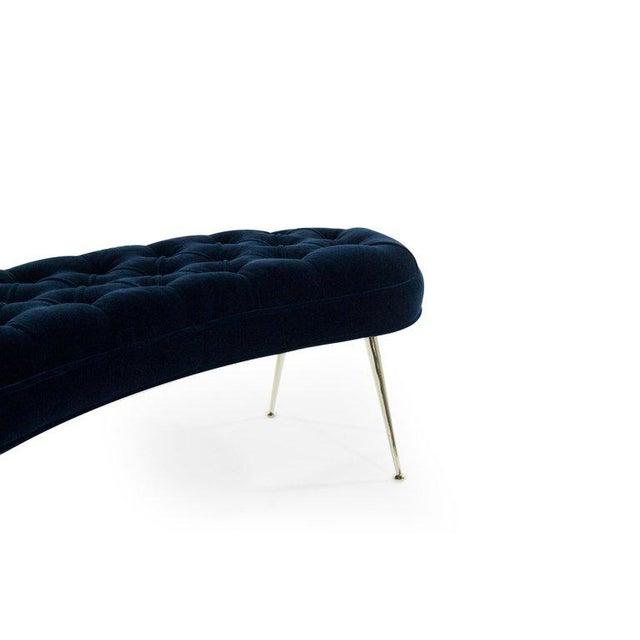 Blue Tufted Benches in Deep Blue Mohair (Pair Available) For Sale - Image 8 of 12