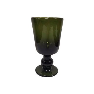 Hand Blown Antique Dark Green Thick Glass Water Goblet Reproduction For Sale