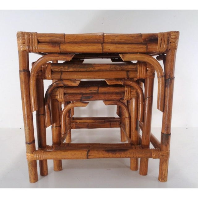 Boho Chic Mid Century Organic Modern Bamboo Side Nesting Tables For Sale - Image 3 of 11
