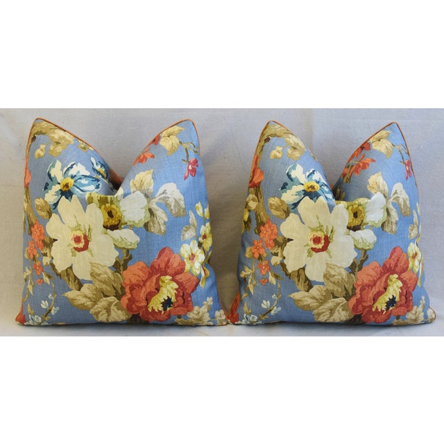 "Lee Jofa Jardin Floral Linen Feather/Down Pillows 21"" Square - Pair For Sale In Los Angeles - Image 6 of 13"