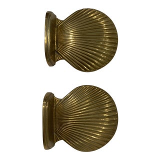 MCM Palm Beach Chic Brass Sea Shell Book Ends For Sale