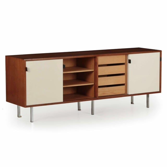 Florence Knoll Walnut and White Laminate Sideboard Credenza, Signed - Image 4 of 11