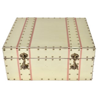 Cream and Pink Brass and Copper Box For Sale